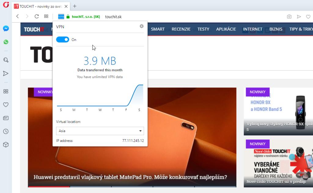 Aktívna VPN služba v rpehlidači Opera,