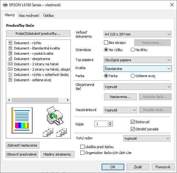 Tlačový ovládač pre EcoTank L6160 s možnosťami nastavenia tlače