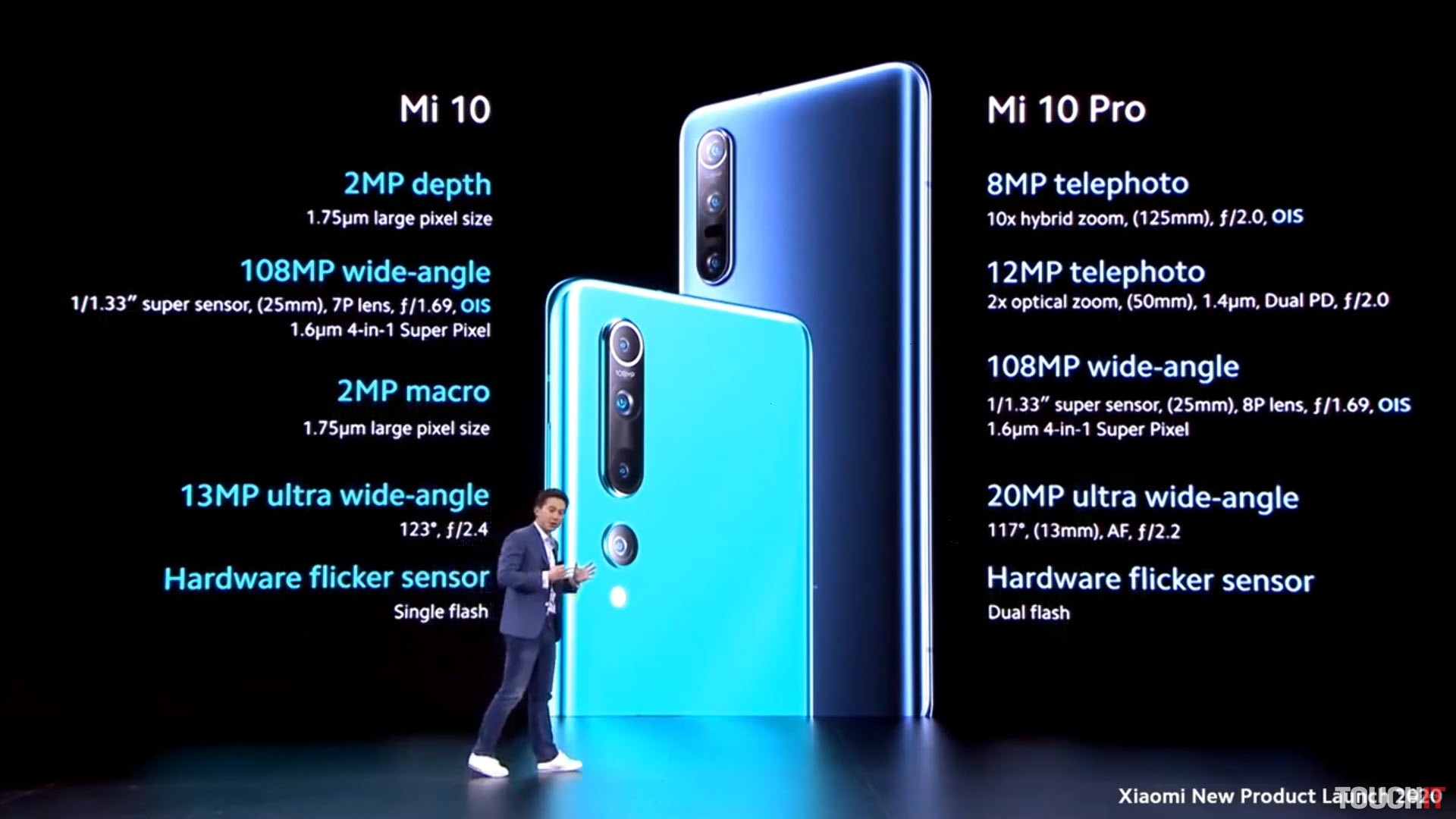 Parametre Xiaomi Mi 10 a Mo 10 Pro