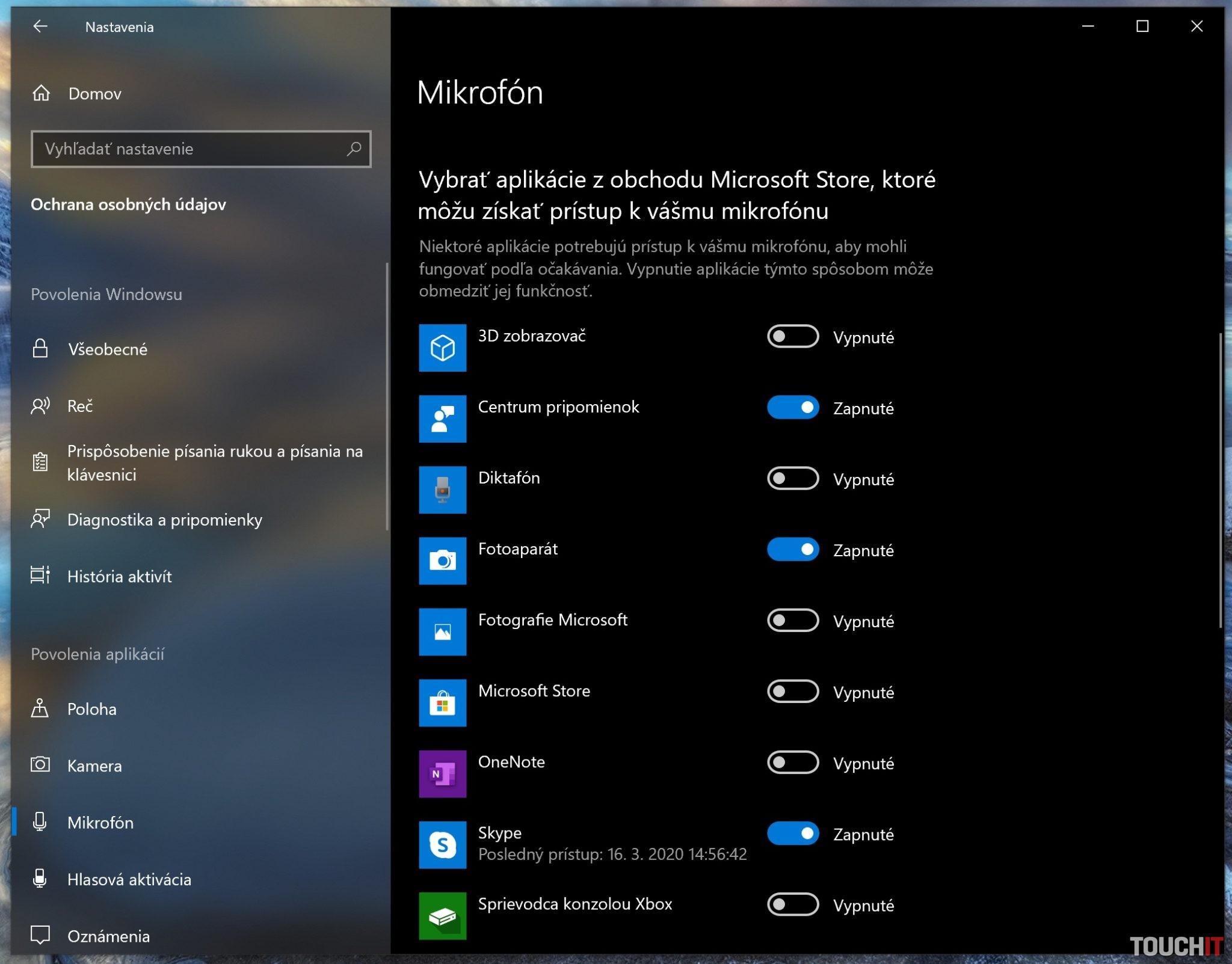 Nastavenie mikrofónu a kamery v systéme Windows 10