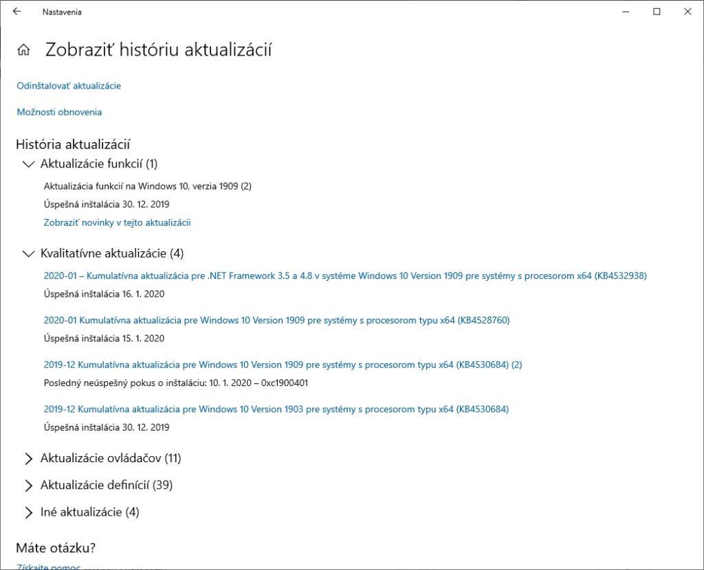 Prehľad aktualizácií vo Windows 10. Rozdelené do kategórií