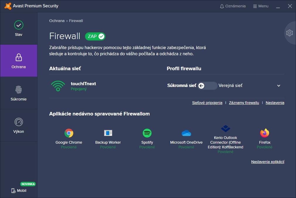 Avast Premium Security s možnosťami firewallu