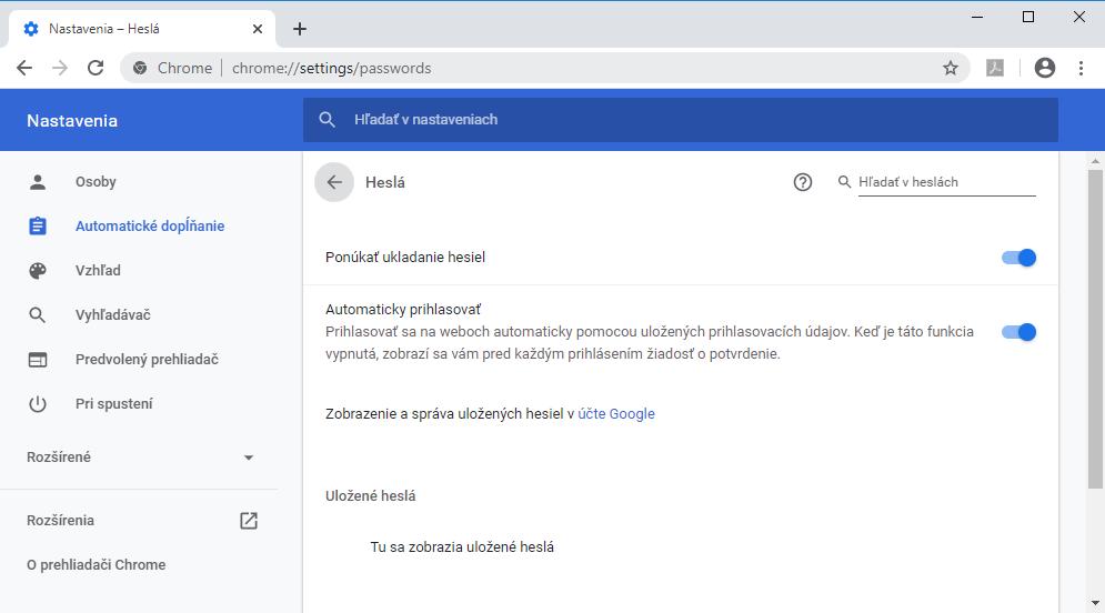 Zobrazenie uložených hesiel v prehliadači Chrome
