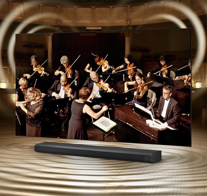 Q-Synphony pri spojení televízora a externého soundbaru