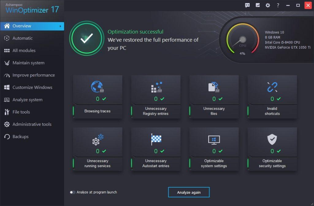 Ashampoo WinOptimizer 17 ako jeden z veľkého počtu nástrojov na optimalizáciu systému