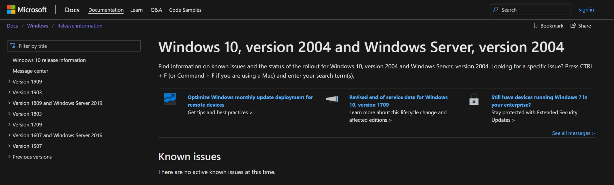 Windows 10 verzia 2004