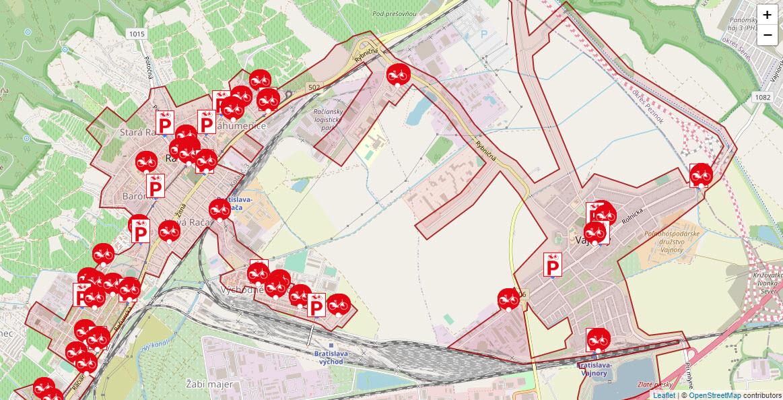 Aktuálna mapa Bratislavy pri službe Verejný bicykel