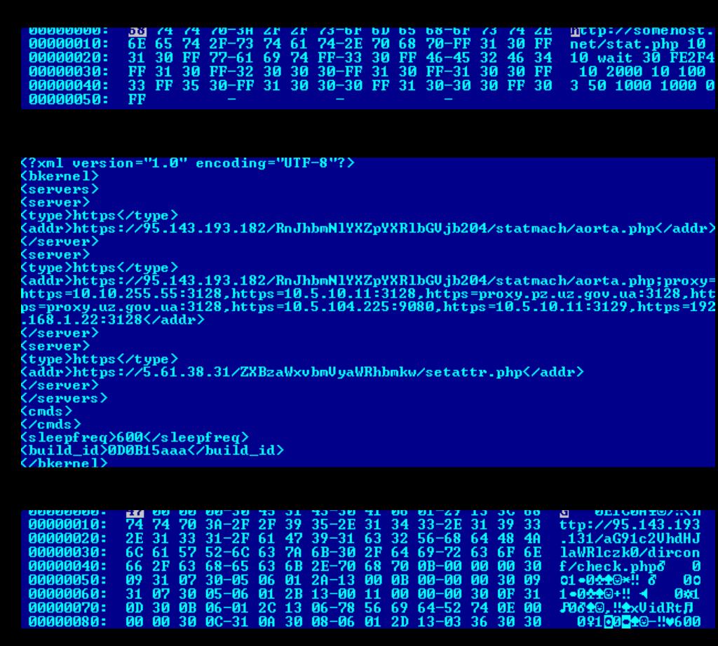 Útržky kódu infiltračného programu Black energy, ktorý bol použitý na útok na ukrajinskú elektrickú rozvodnú sieť