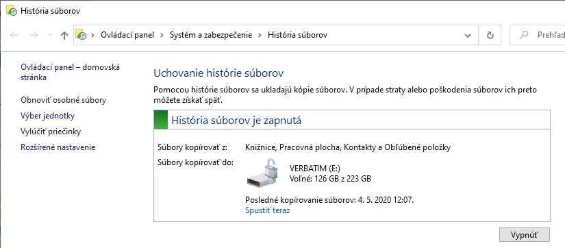 V Prieskumníku sa záloha nazýva História súborov