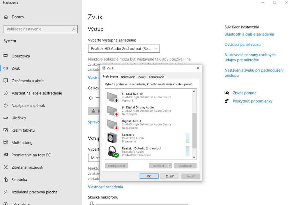Nastavenie zvukových zariadení vo Windows 10
