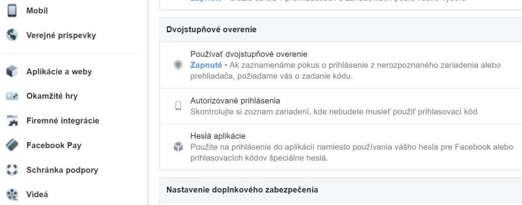 Dvojfaktorová autorizácia na Facebooku