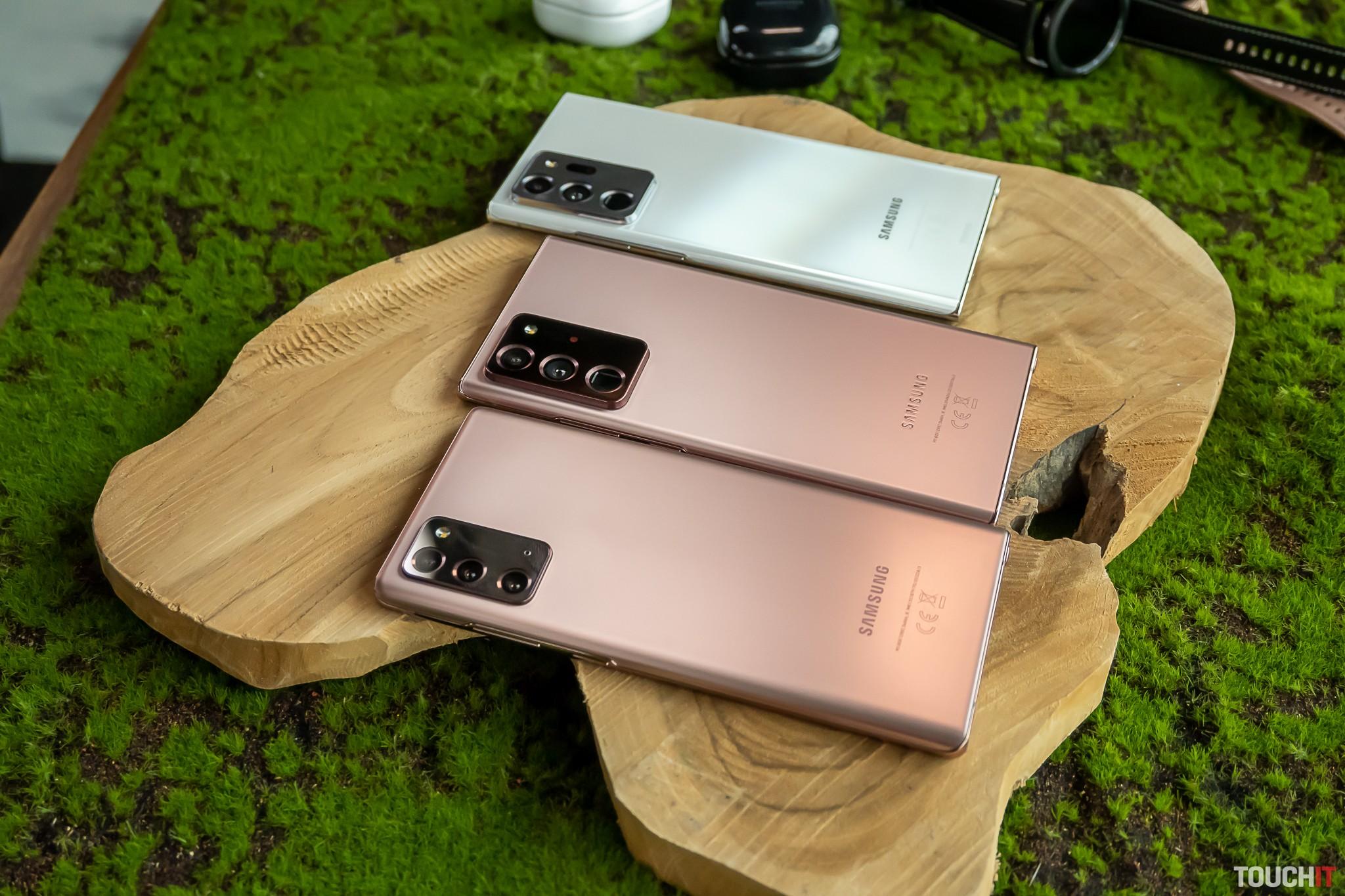 Vpredu Galaxy Note20, ďalej Note20 Ultra