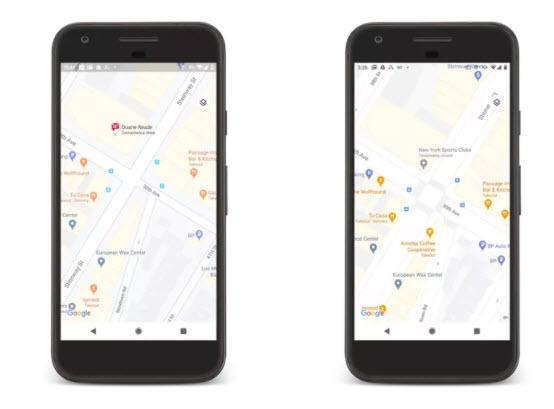 Vernejšie zobrazenie mapy ulíc (napravo) bude dostupné pre New York, San Francisco a Londýn