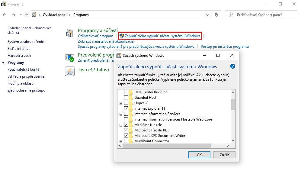 Aktivácia a deaktivácia integrácie Internet Exploreru