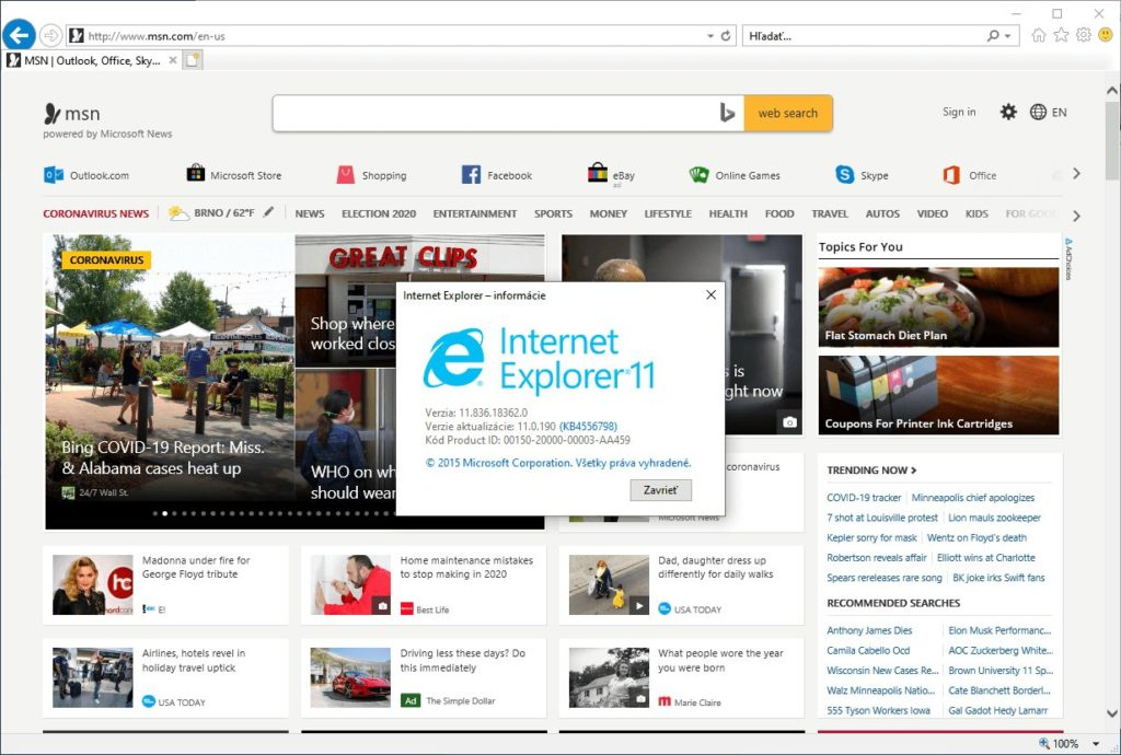 Internet Explorer 11 v systéme Windows 10