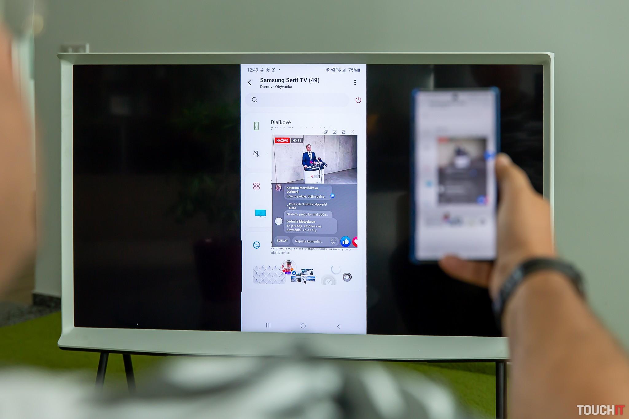 Zrkadlenie obsahu smartfónu na displeji televízora