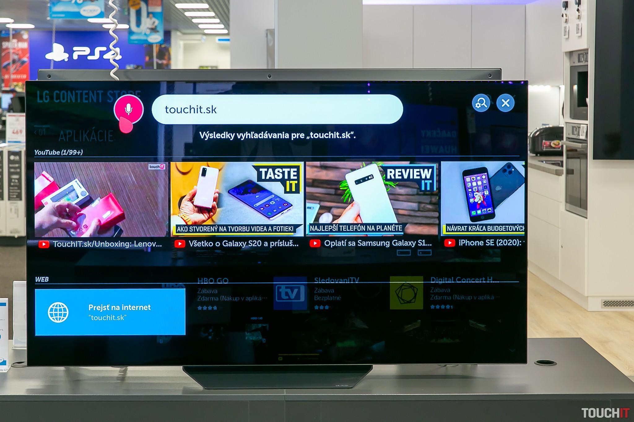 Zobrazenie internetových stránok na LG televízore
