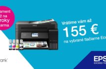 Pri kúpe vybraných tlačiarní Epson získate cashback až do 155 eur
