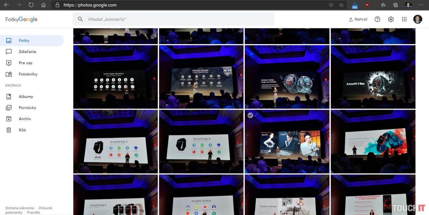 Webové rozhranie služby Fotky Google