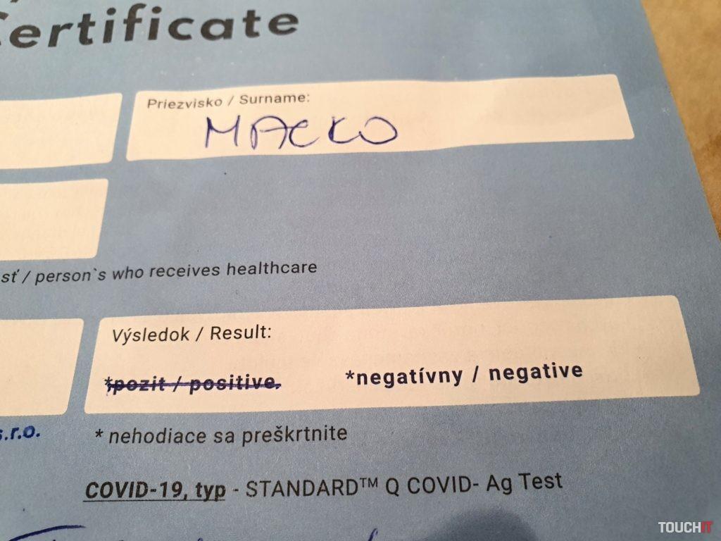 Certifikát s výsledkom antigénny testov