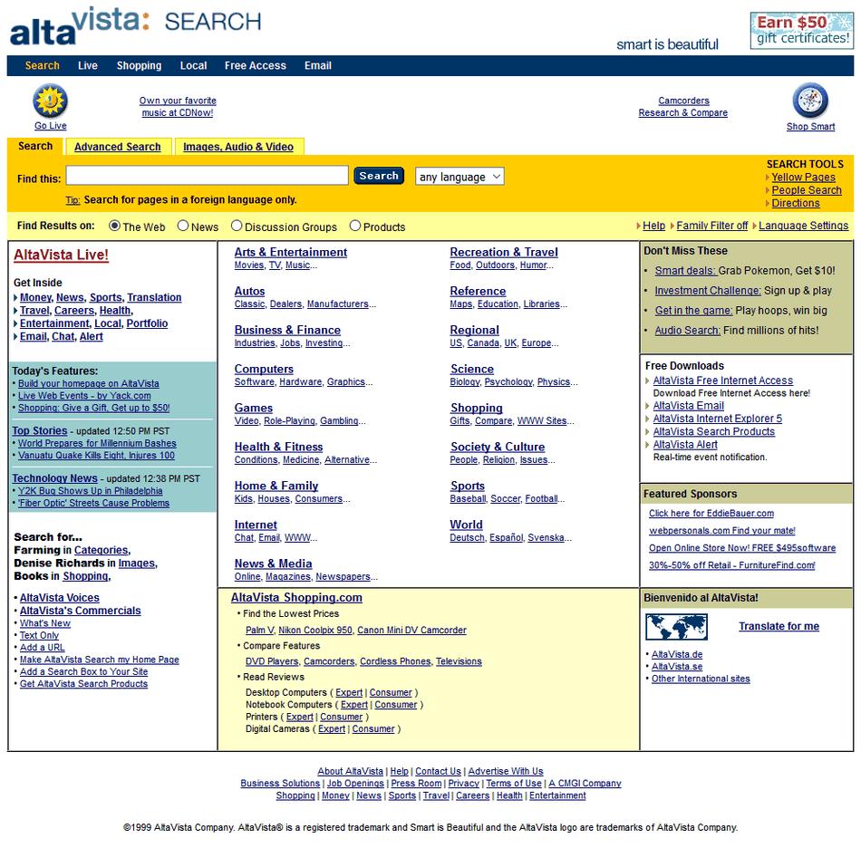 AltaVista v roku 1999