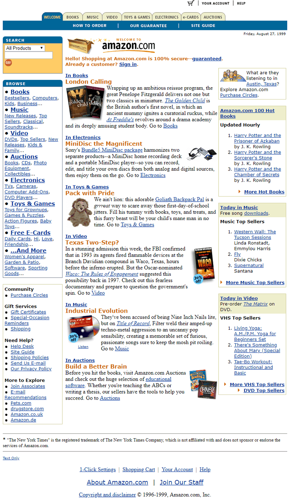 Amazon v roku 1999