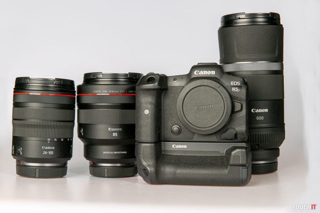 Canon EOS R5 s objektívmi 24-105, 85 a 600 mm
