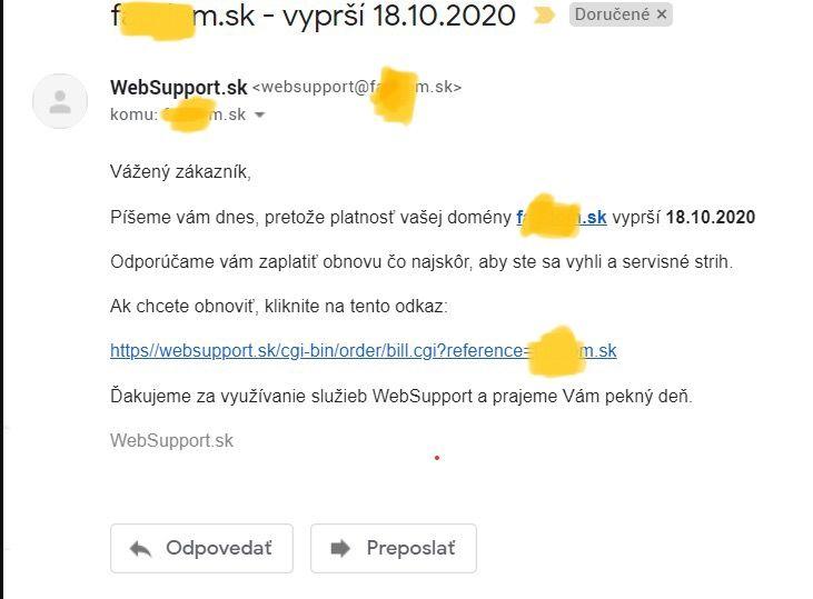 Podvodný email, ktorý oznamuje exspiráciu domény