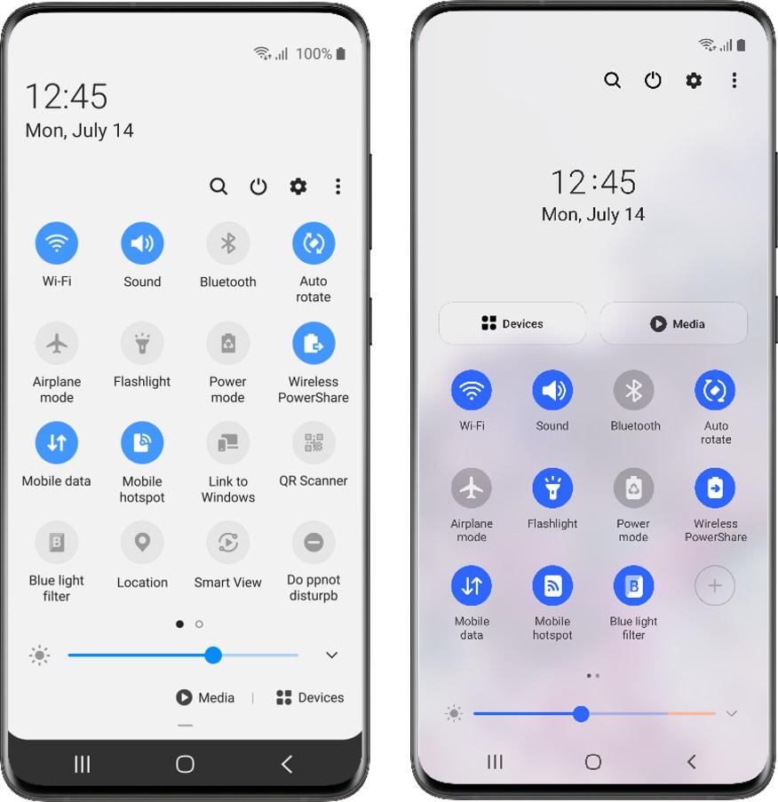 Vylepšenia Rýchleho panelu medzi verziami One UI 2 (vľavo) a One UI 3 (vpravo)