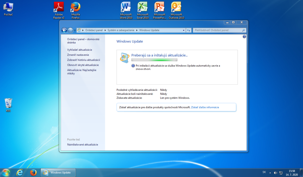 Inštalácia aktualizácii v rámci Windows 7