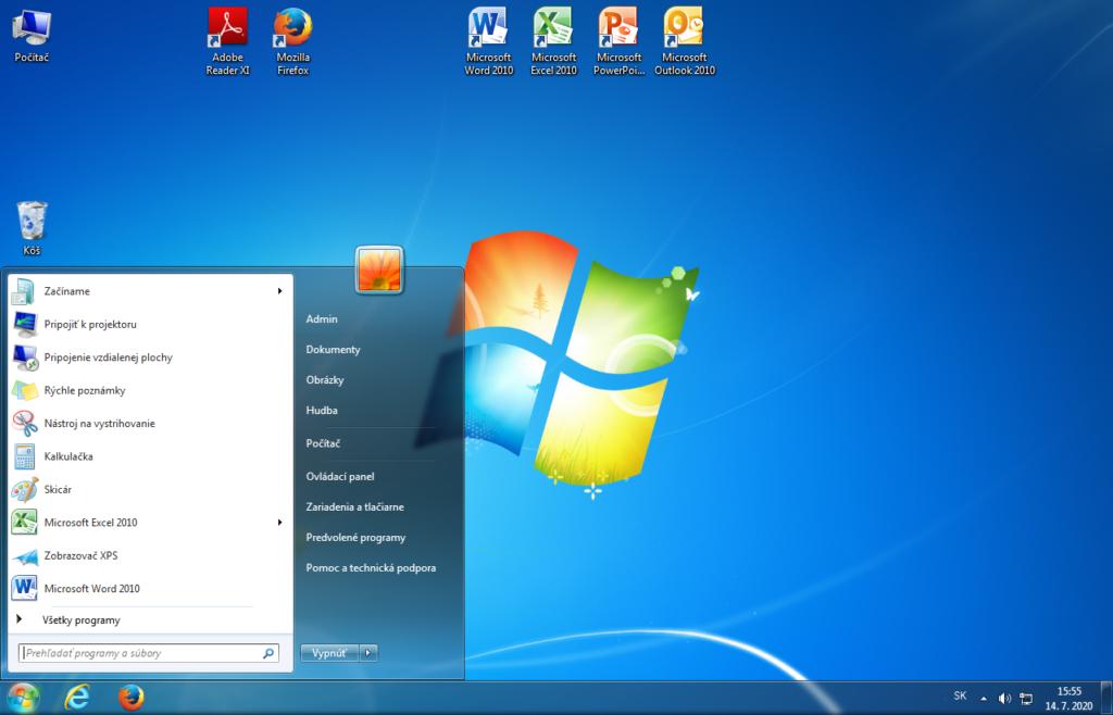 Windows 7, ktorý bol aktívne podporovaný od roku 2009 do roku 2020
