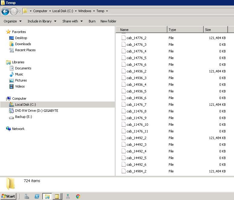 Kopiace sa súbory CAB v priečinku Temp