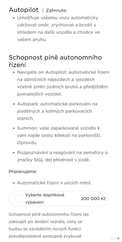 Elektromobily Tesla, funkcie autopilota