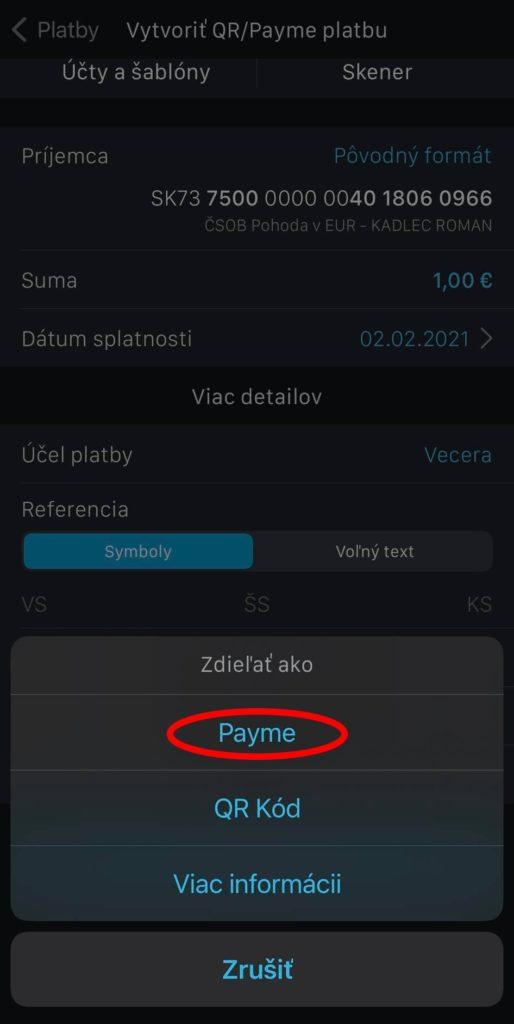 Zadanie platby ČSOB