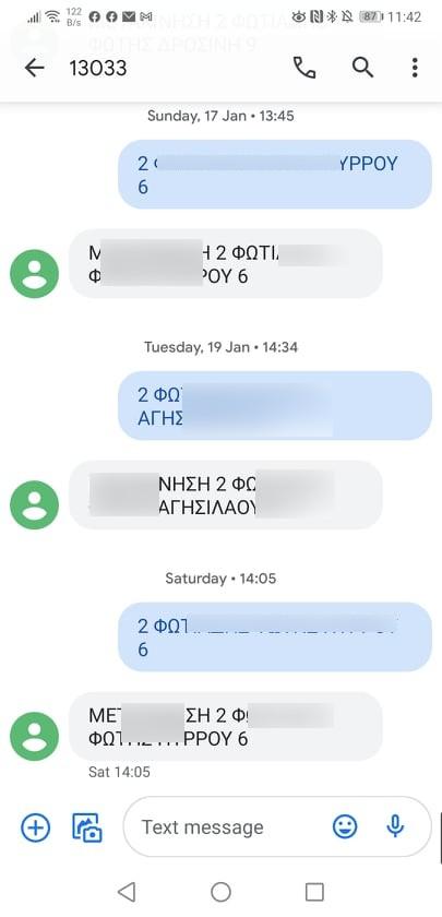 Príklad komunikácie cez SMS v Grécku. Zdroj: Fotios Fotiadis