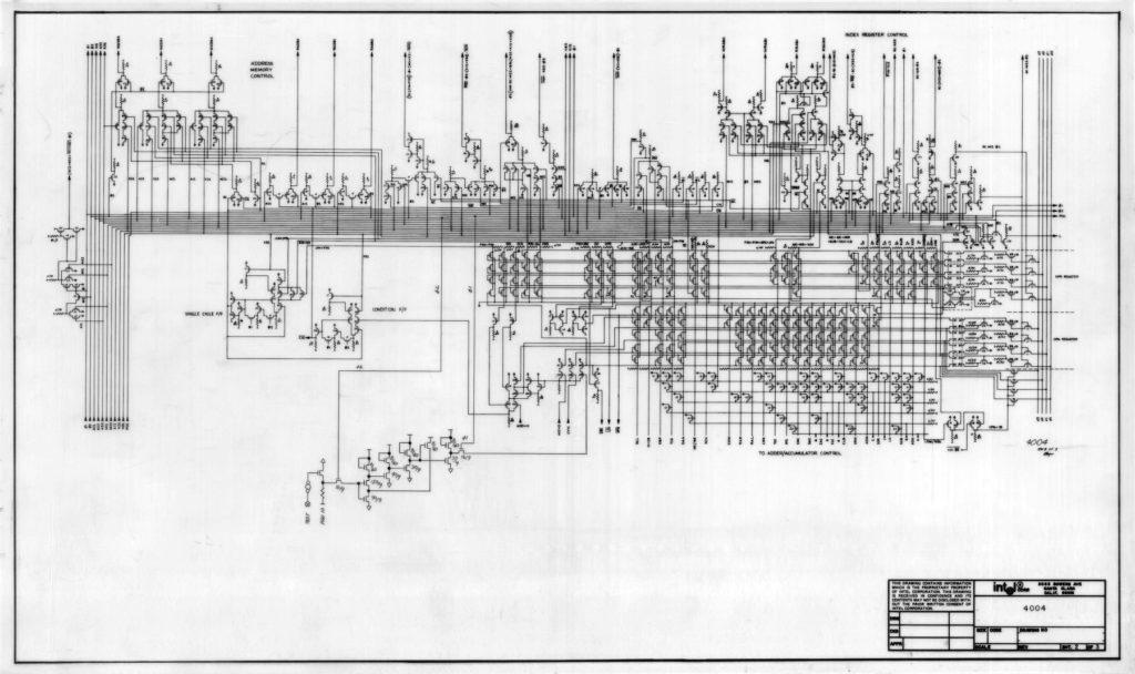 Ručne nakreslená schéma logiky prvého procesora Intel 4004 z roku 1971