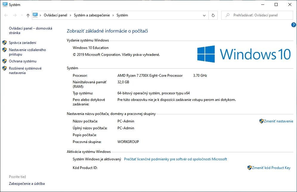 Pôvodné informačné okno systému Windows 10 z Ovládacieho panelu