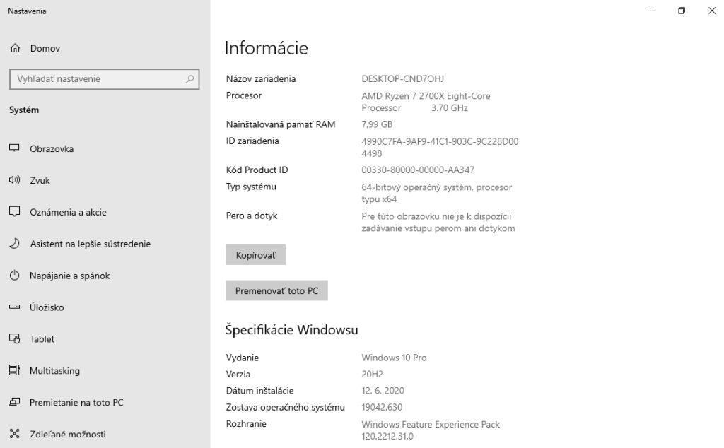 Nová alternatíva informačného okna v Nastavení