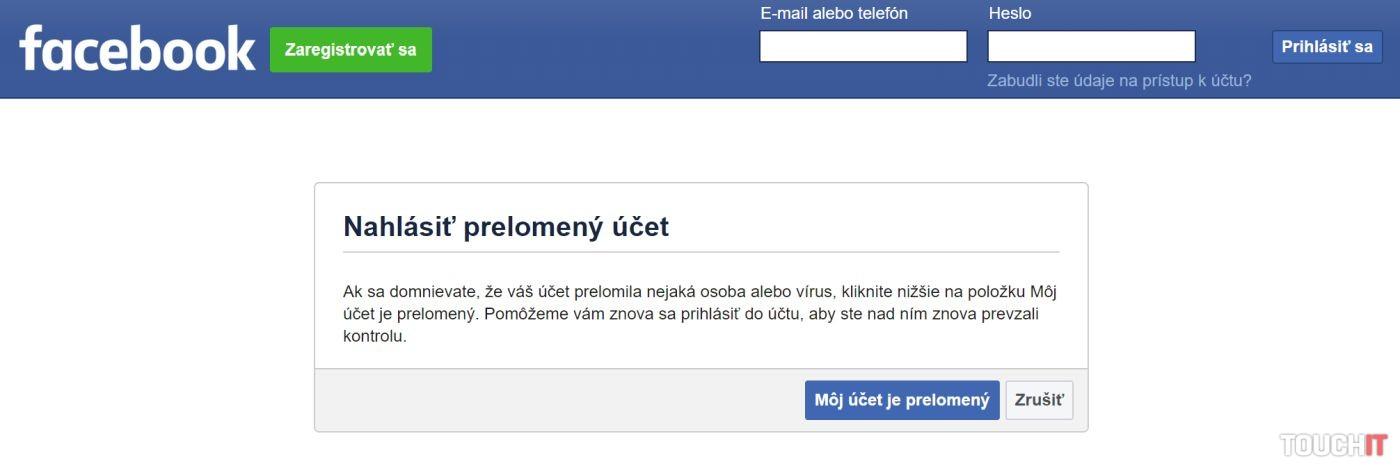 Facebook ukradnutý účet