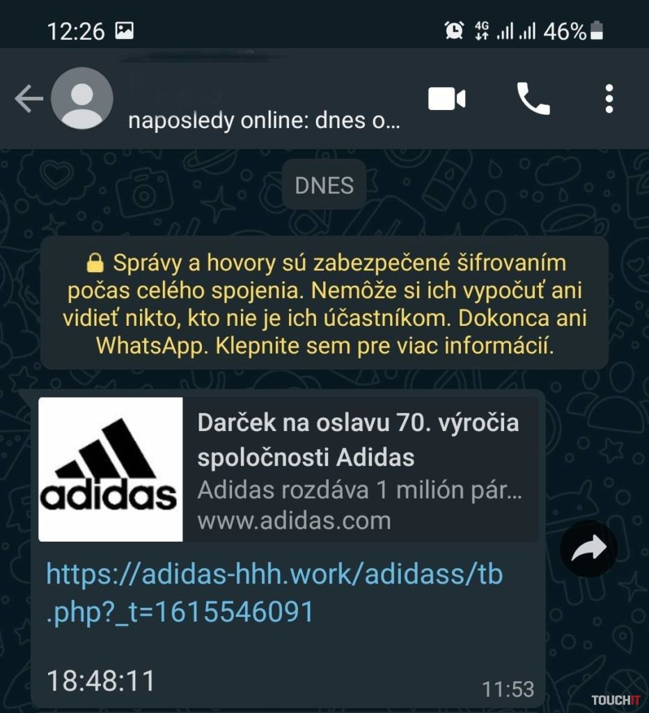 WhatsApp Adidas podvod