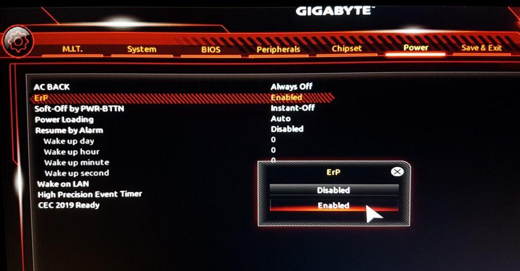 Zapínanie ErP na doske Gigabyte