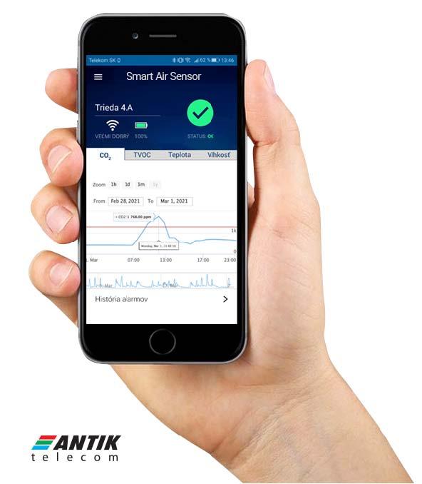 Informácie o kvalite vzduchu sú na diaľku dostupné v smart aplikácii