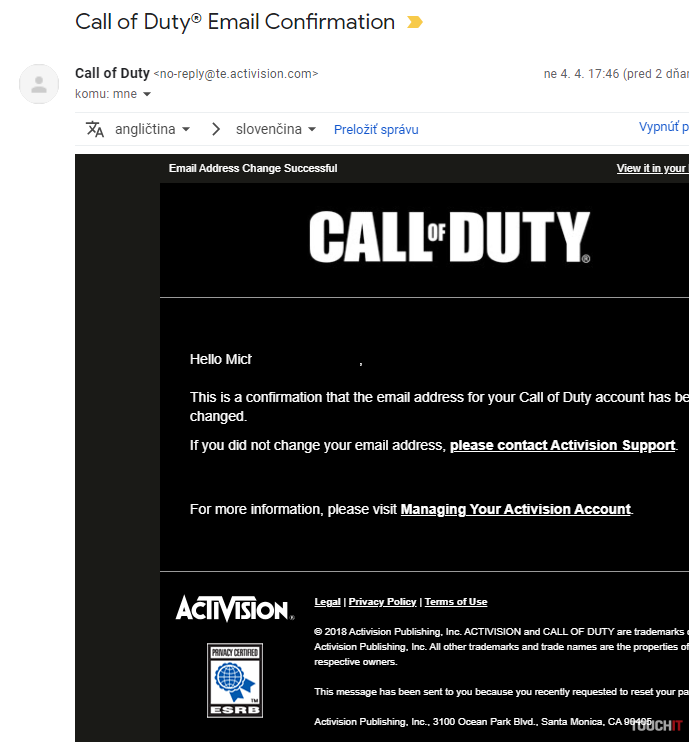 call of duty email