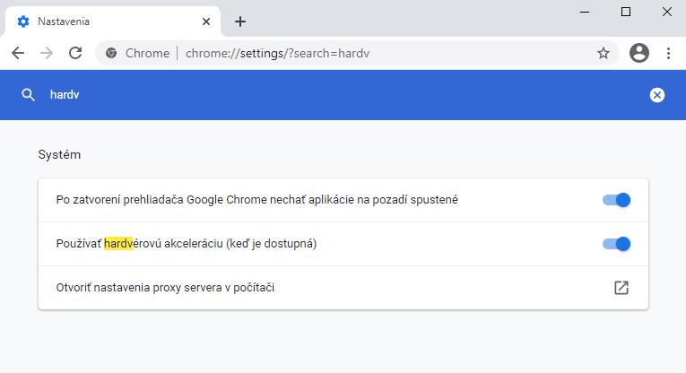 Vypnutie hardvérovej akcelerácie prehliadača Google Chrome