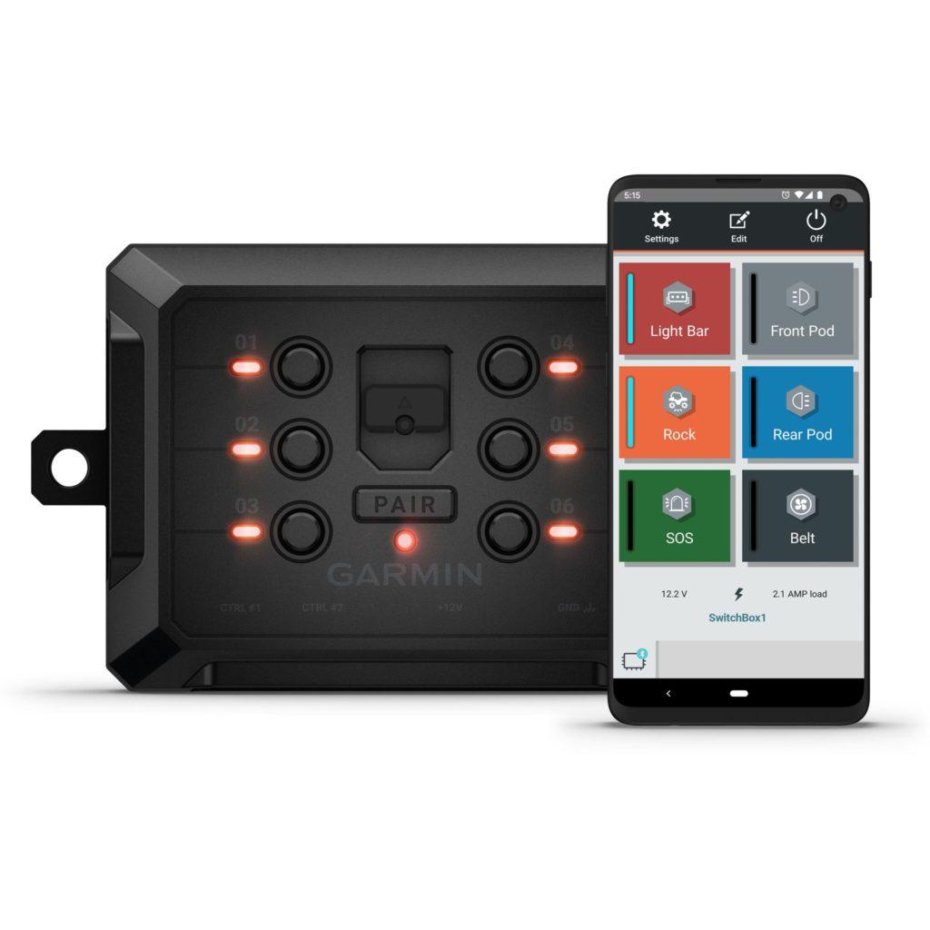 Garmin PowerSwitch pri jeho ovládaní so smartfónu. Zdroj: Garmin