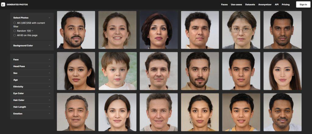 Výber syntetických tvárí na základe rasy, veku či farby očí na stránke https://generated.photos/
