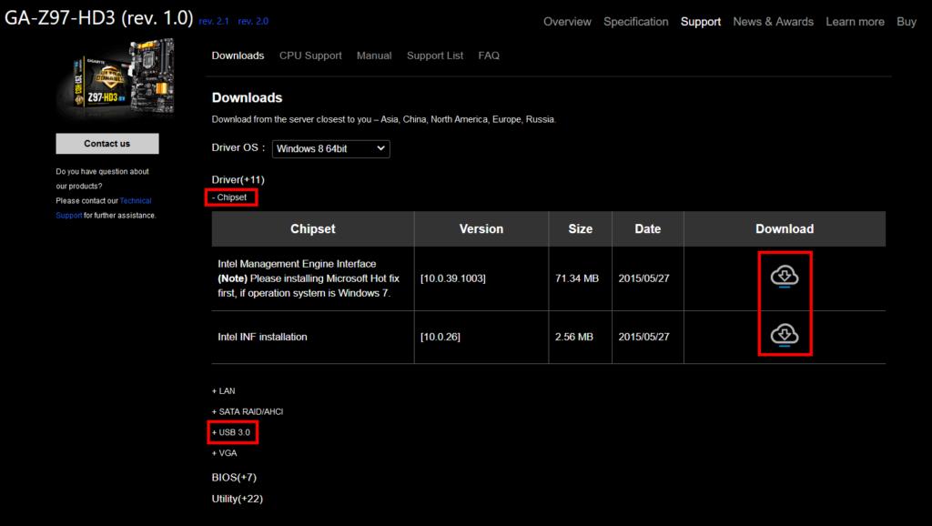Sťahovanie ovládačov základnej dosky na stránke spoloťnosti Gigabyte