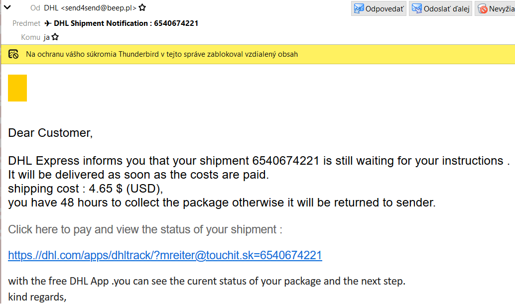 dhl fraud thunderbird email