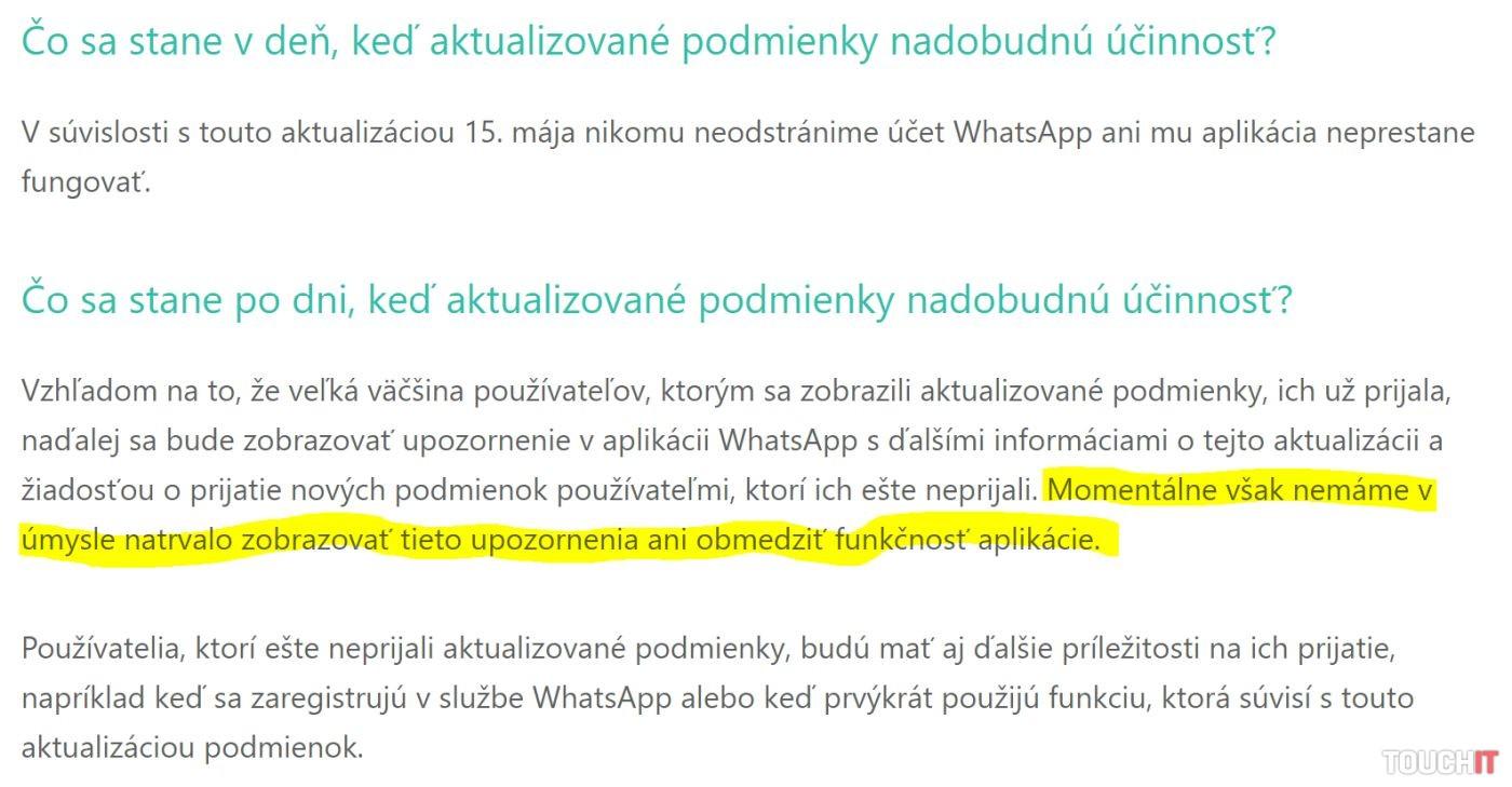 WhatsApp obmedzenia