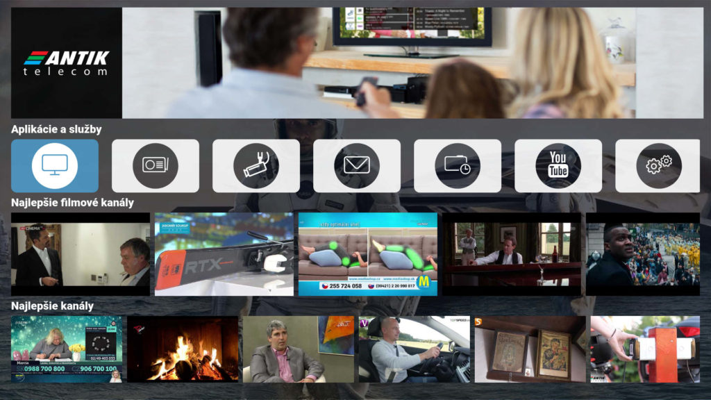 Základné používateľské rozhranie aplikácie AntikTV na Samsung TV